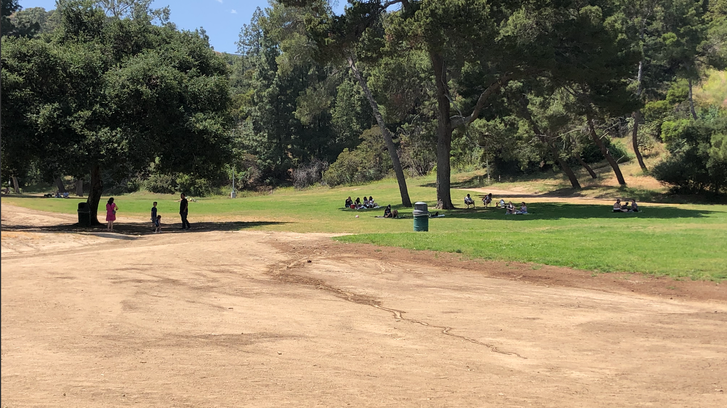 Families spread out in Griffith Park during the first weekend the park was open since quarantine began in mid-March.