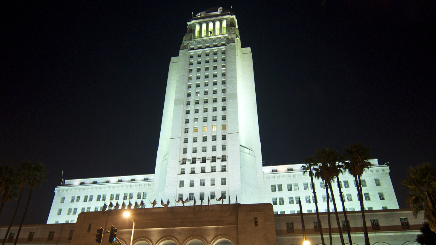 """LA City Hall at night. Incoming City Councilmember Kevin de León says, """"I think we need to work in a collaborative manner, no question about it. But if we can't work in a collaborative fashion, then you have to take on the bureaucracy."""""""