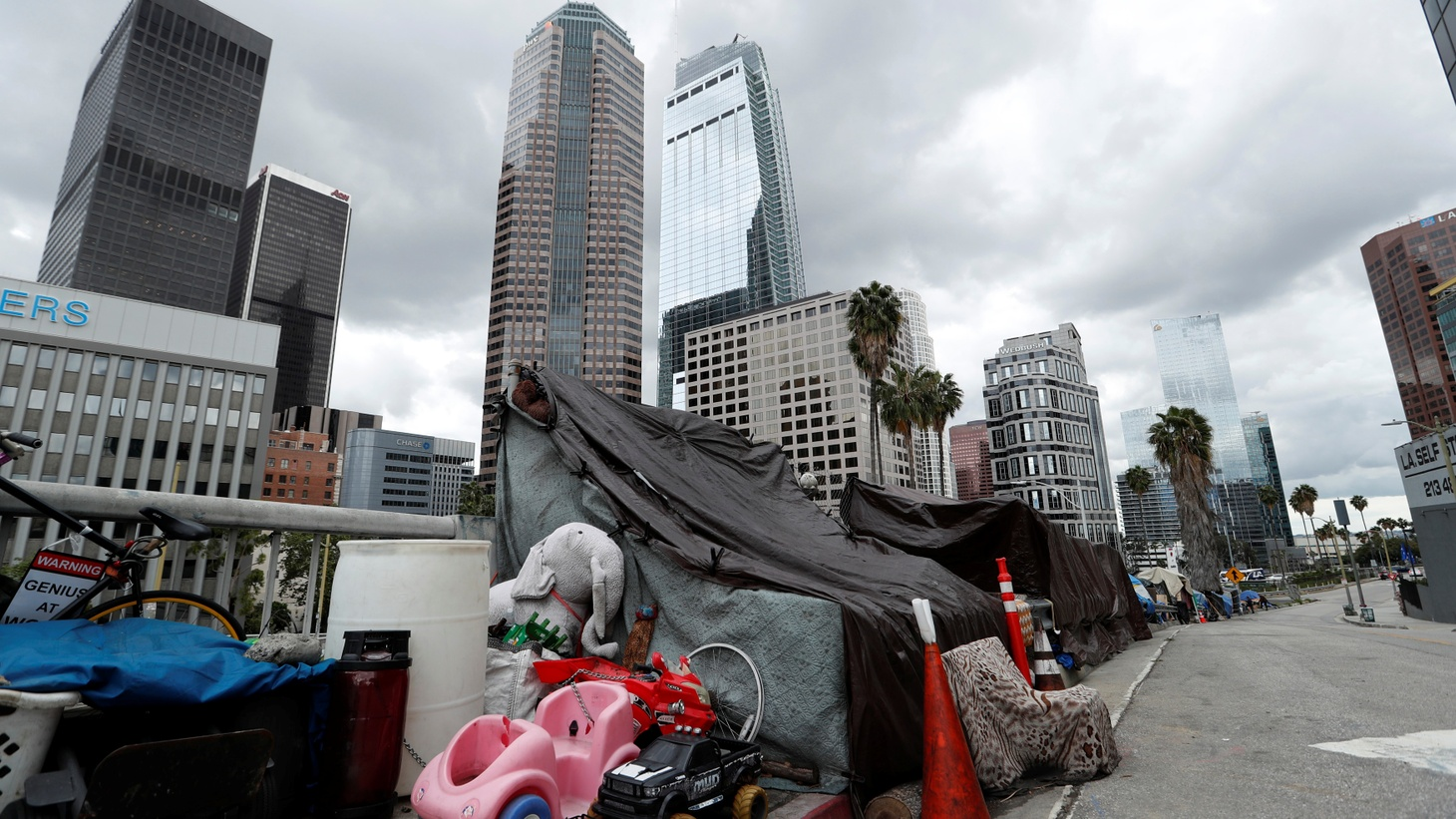 Homeless encampments are pictured in downtown LA during the coronavirus outbreak, March 20, 2020.