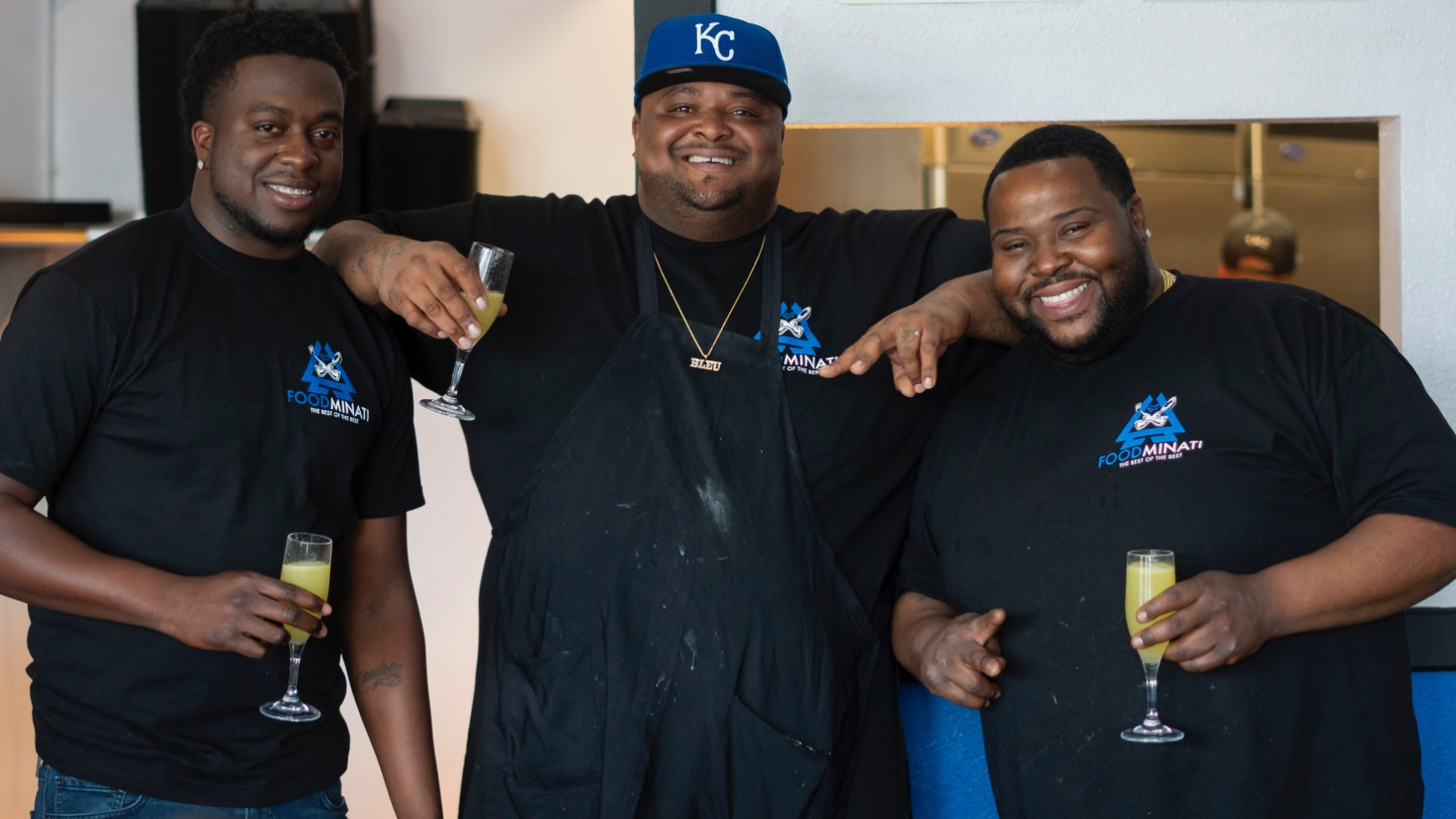 (L-R) Jermelle Henderson, owner of Taco Mell, Calvin Johnson of Bleu Kitchen and Keith Garett of All Flavor No Grease call themselves the Foodminati of the LA food scene. This Saturday they will open their first joint venture, The Court Cafe, a breakfast restaurant in Ladera Heights.