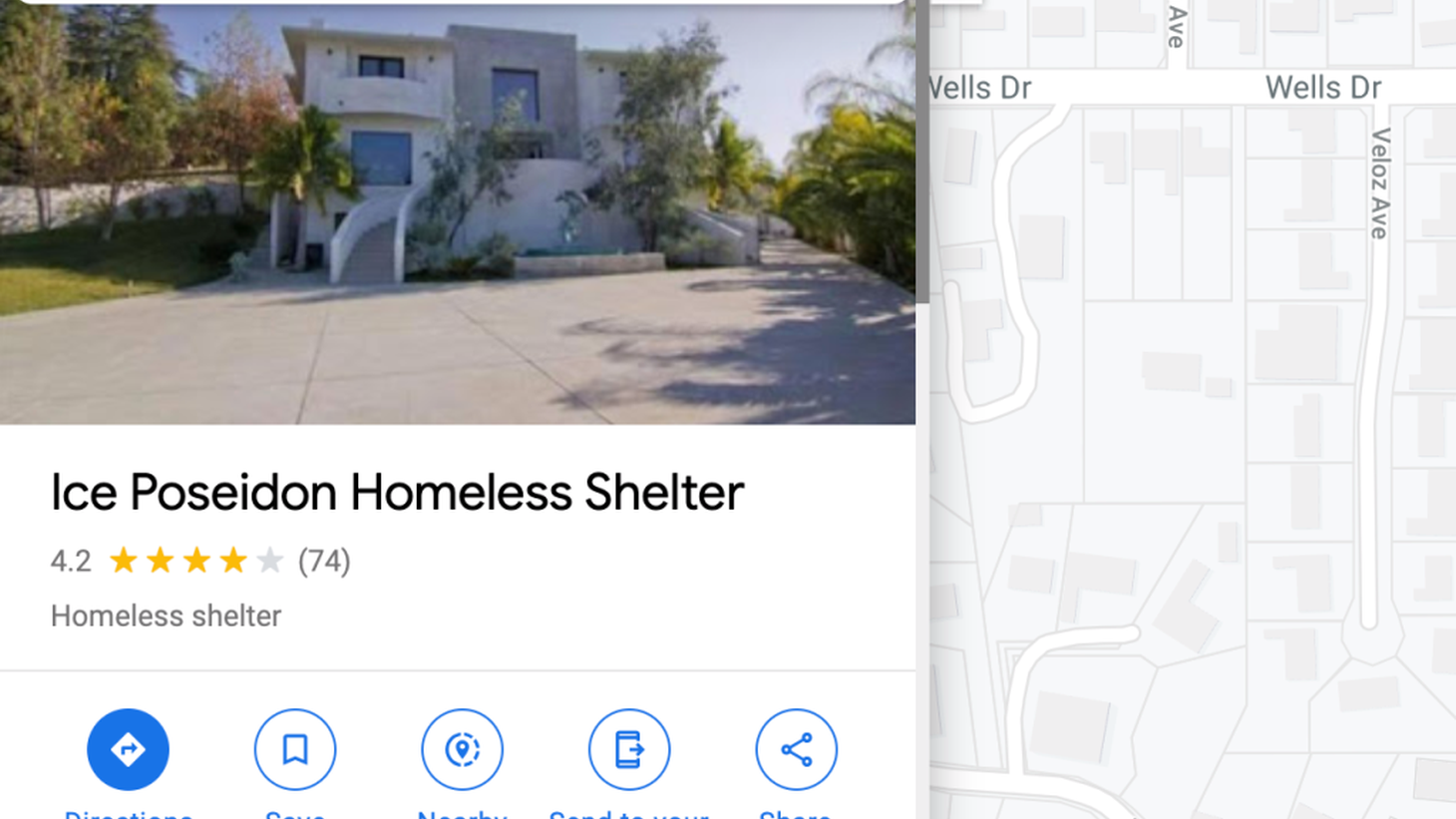 A mansion in Tarzana falsely labeled as a homeless shelter on Google Maps.