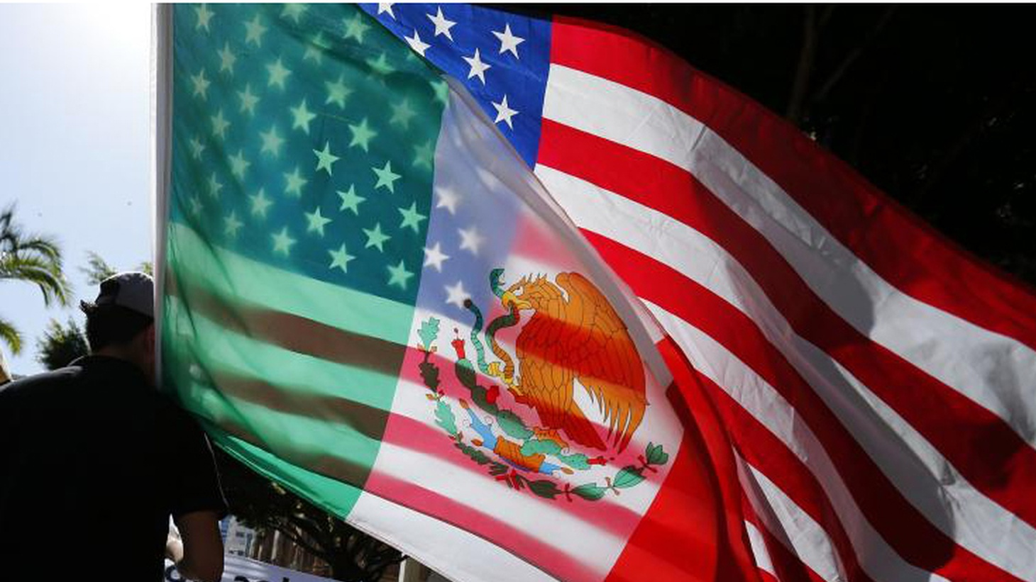 U.S. and Mexico flags at a U.S. immigration rally
