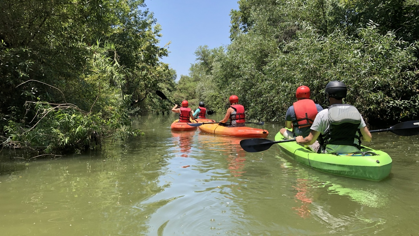 Kayakers on the LA River in the Sepulveda Basin.