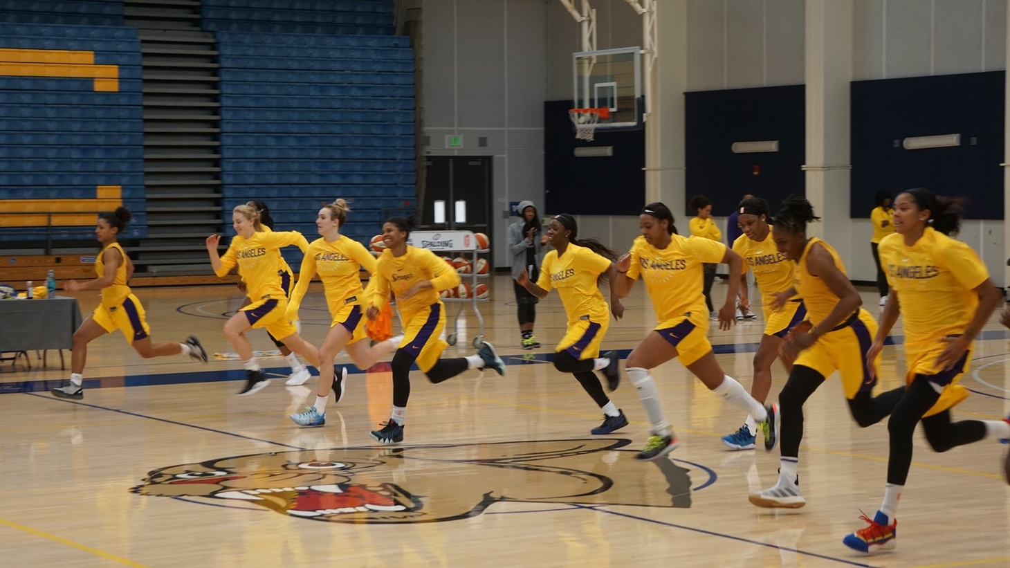 Sparks practice at the gym at Los Angeles Southwest College.