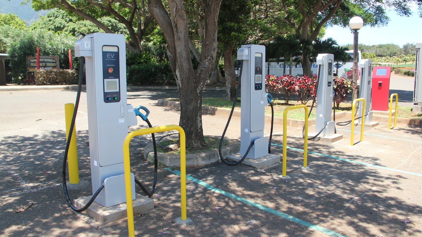 Electric vehicle charging stations.