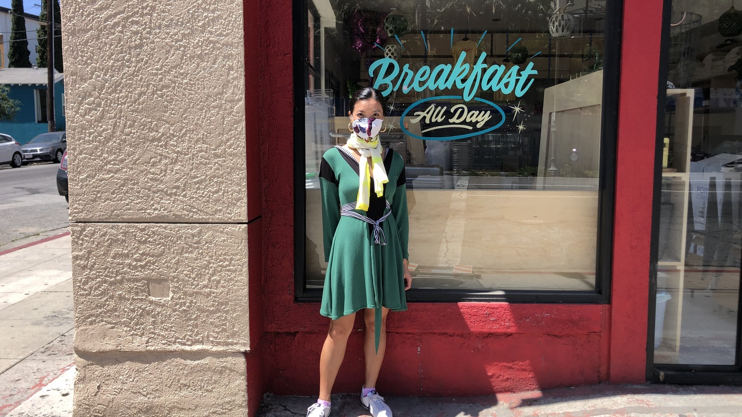 """Lien Ta outside All Day Baby in Silver Lake. Her restaurant has been operating out of a takeout window with a skeleton crew. She says, """"The loyalty has absolutely been the best dish served during the pandemic."""""""