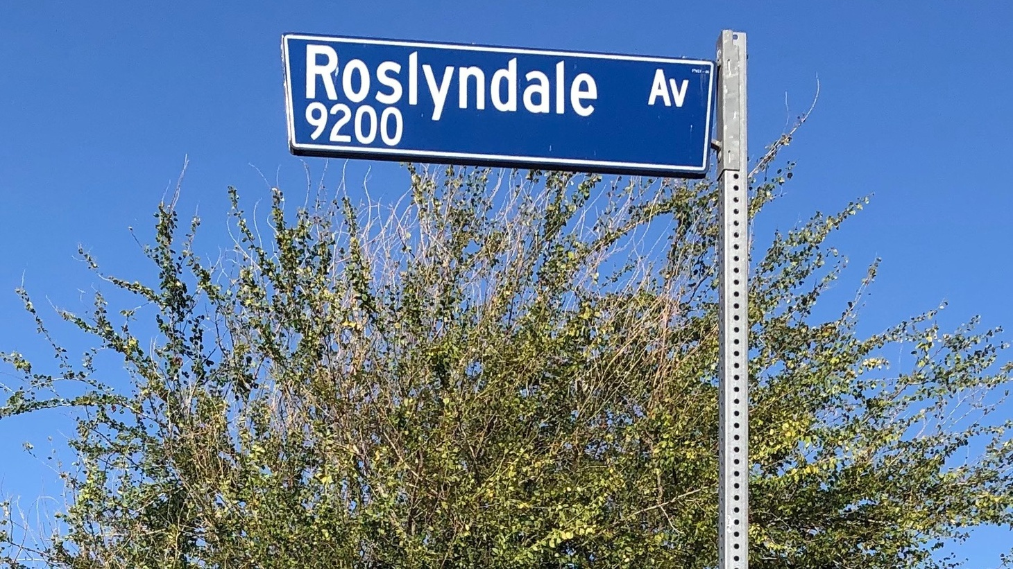 """The Roslyndale Avenue sign today. """"People want to live on the street that is a desirable name, and marketers know that,"""" explains author Deirdre Mask."""