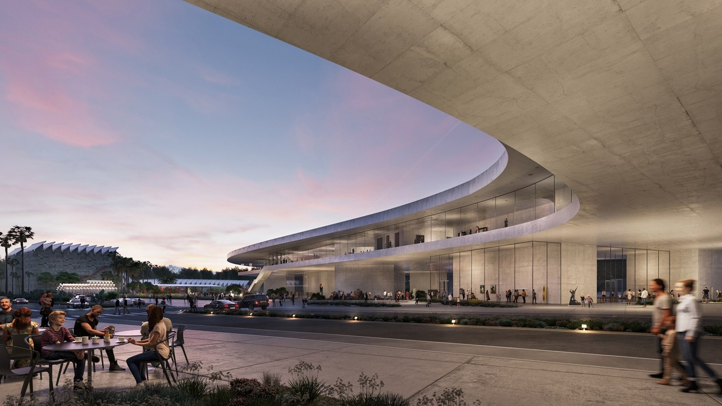 LACMA redesign concept: Exterior view looking north west.