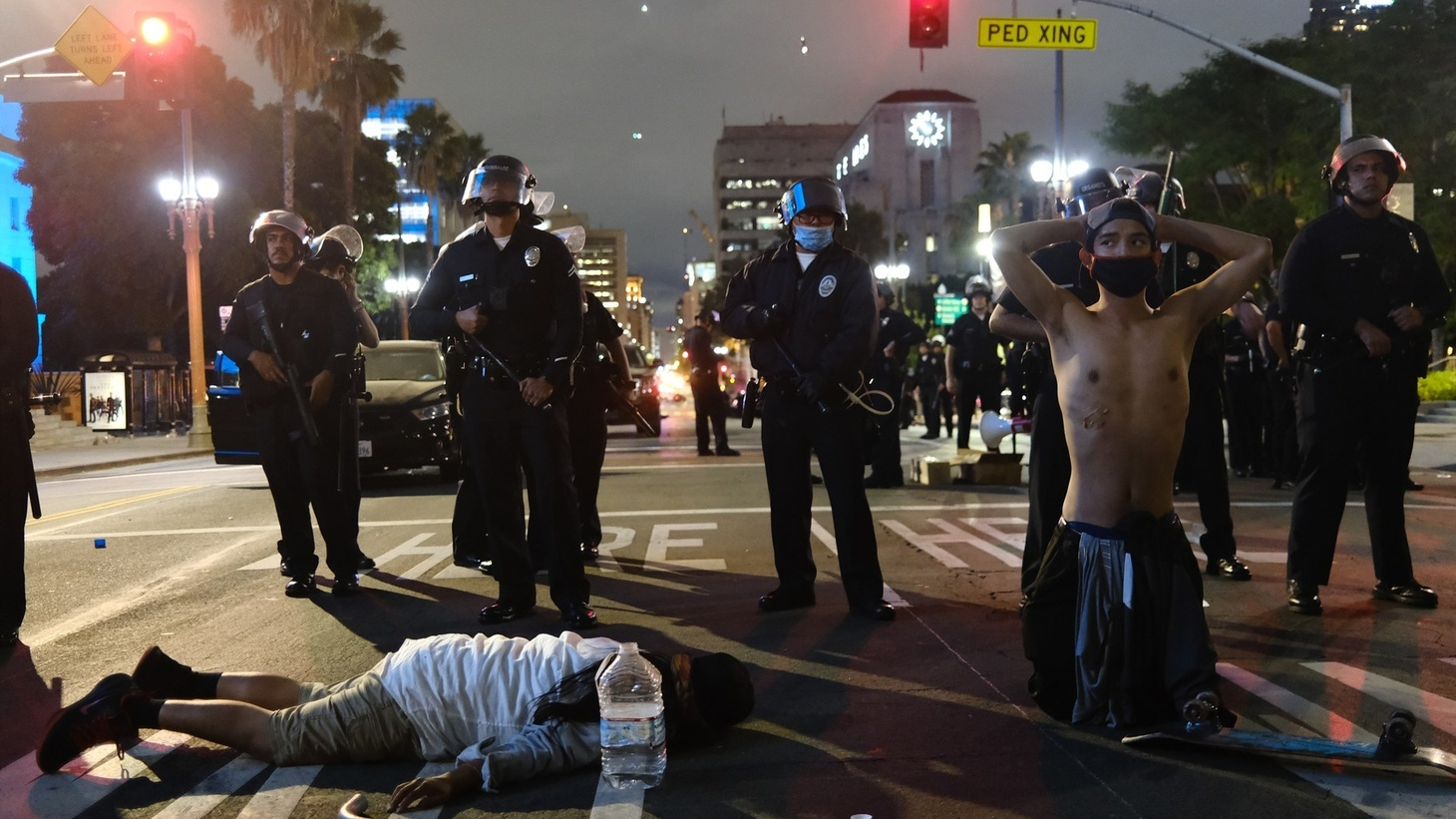 LAPD officers boxed in demonstrators who laid on the street in protest of racial injustice. Now the National Lawyers Guild of Los Angeles has filed a class action lawsuit against the LAPD for its response to protesters.