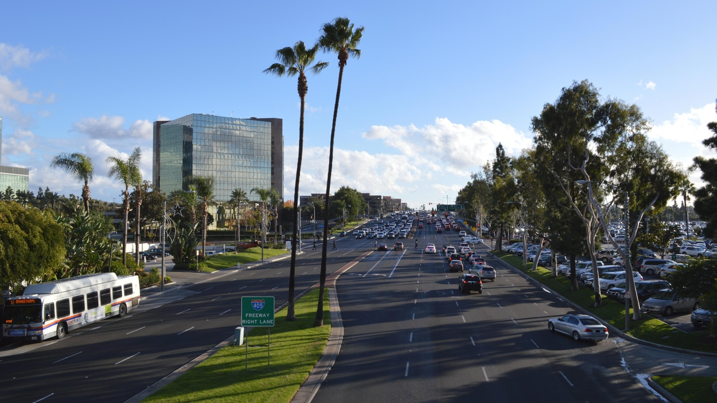 Westward view of Bristol Street as seen from the Unity Bridge of South Coast Plaza in Costa Mesa, California.