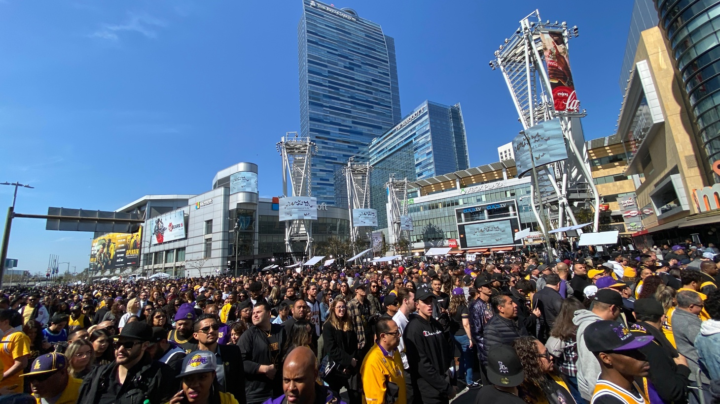 Crowd exiting the Staples Center after the Kobe Bryant memorial, Feb. 24, 2020.