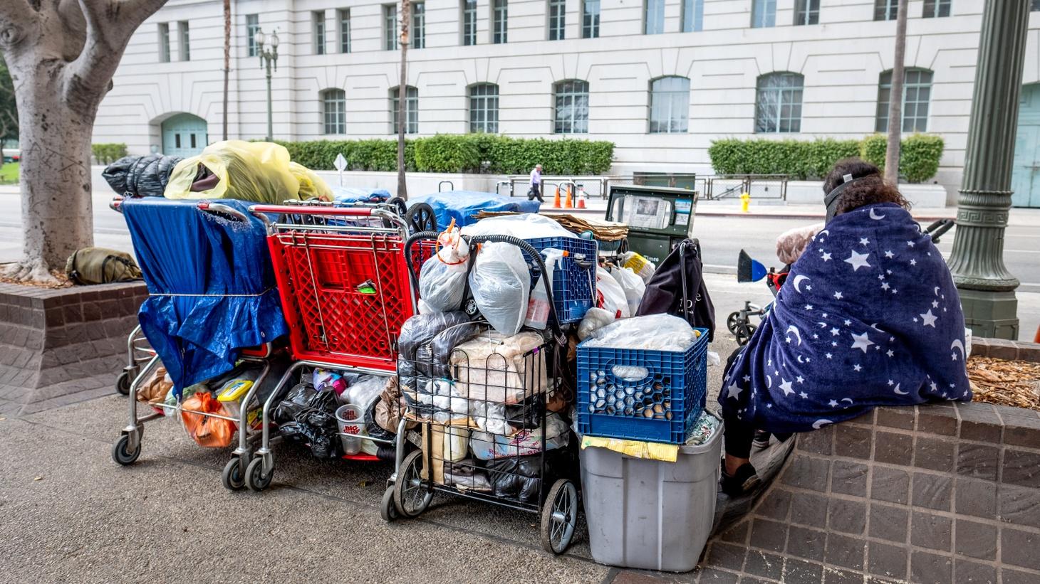 A homeless woman with her belongings across from LA City Hall.