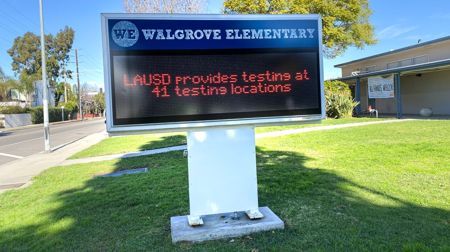 The digital sign in front of Walgrove Elementary School in Mar Vista, Los Angeles says LAUSD provides COVID-19 testing at 41 locations. February 2, 2021.