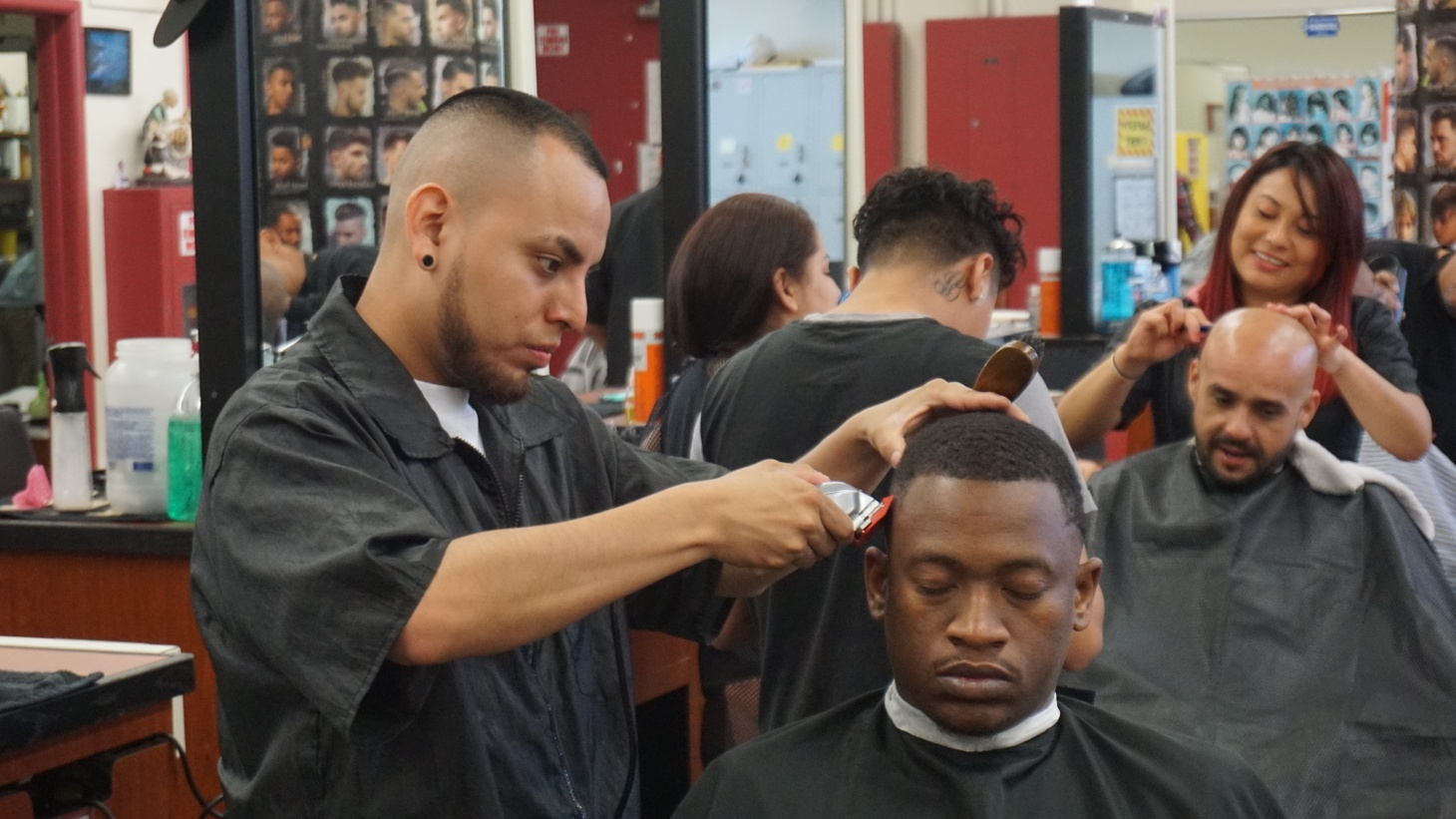 LAUSD students in a barber training program.