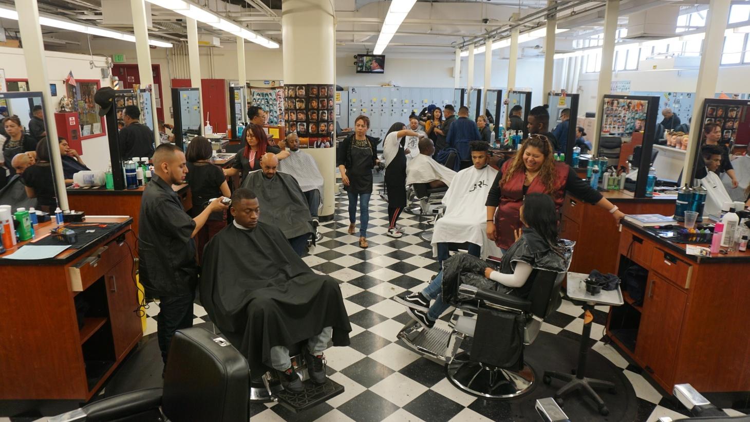 The bustling barbershop.