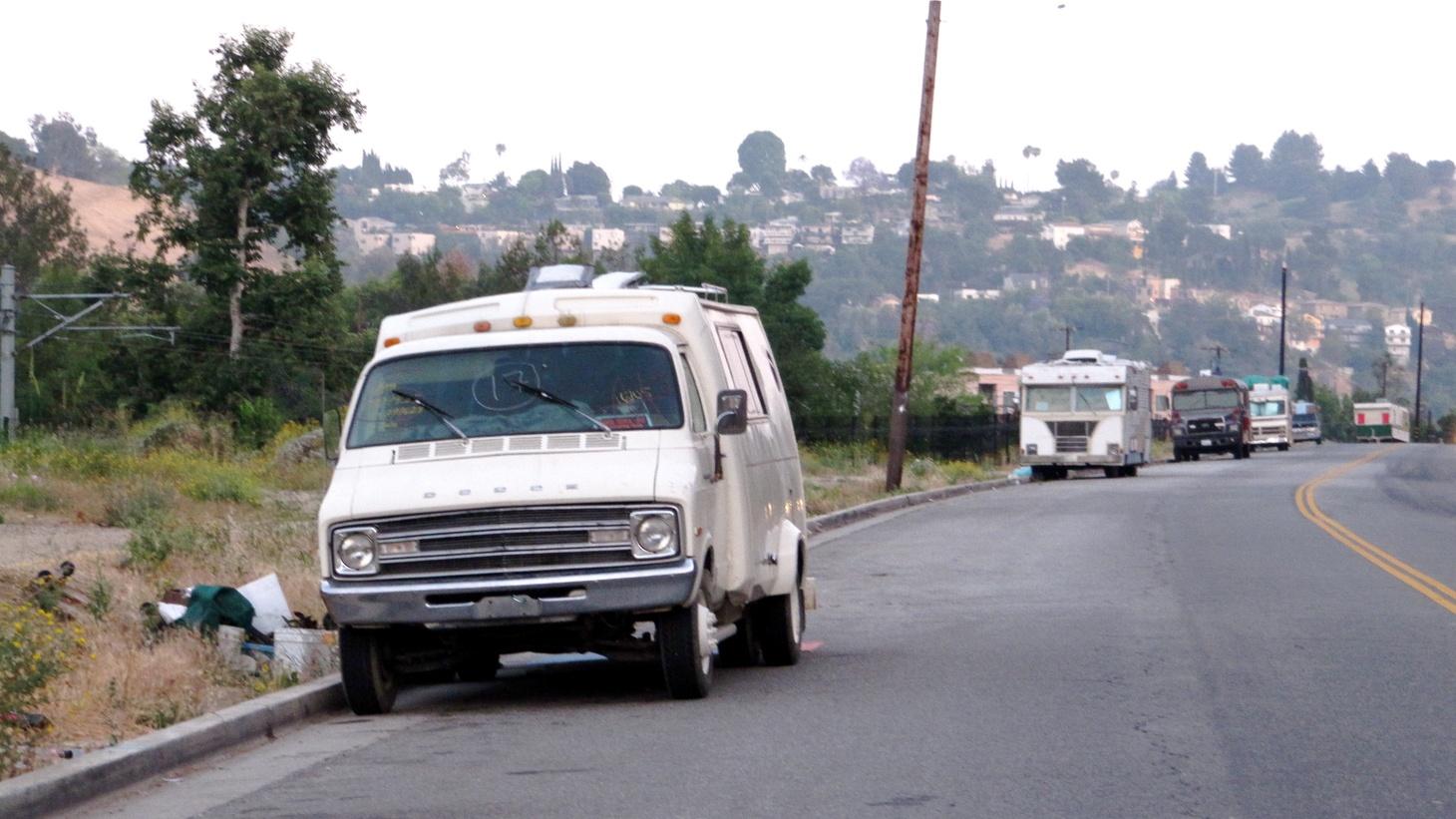 Camper vans along a street in LA.