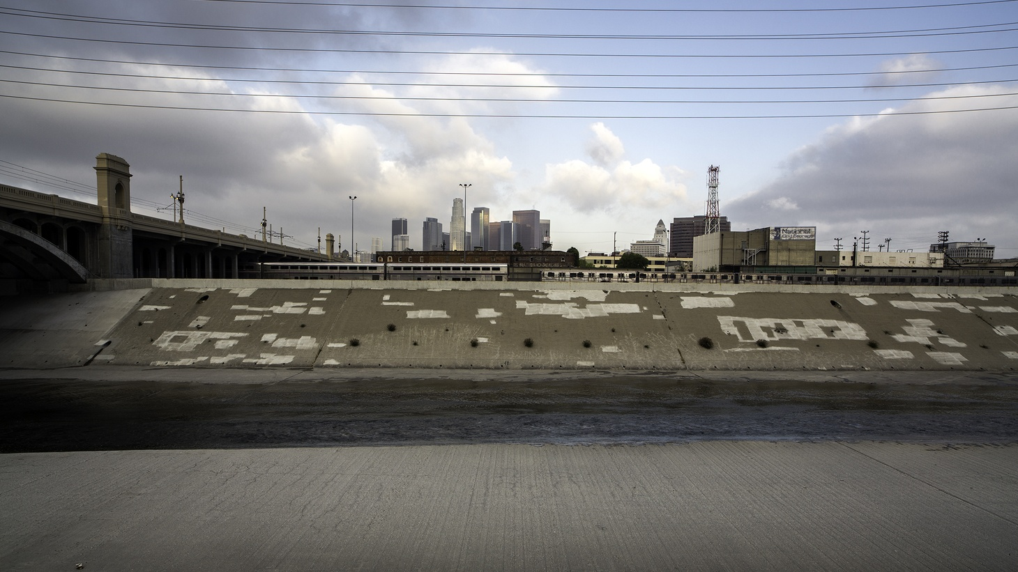 The LA River running through downtown Los Angeles.
