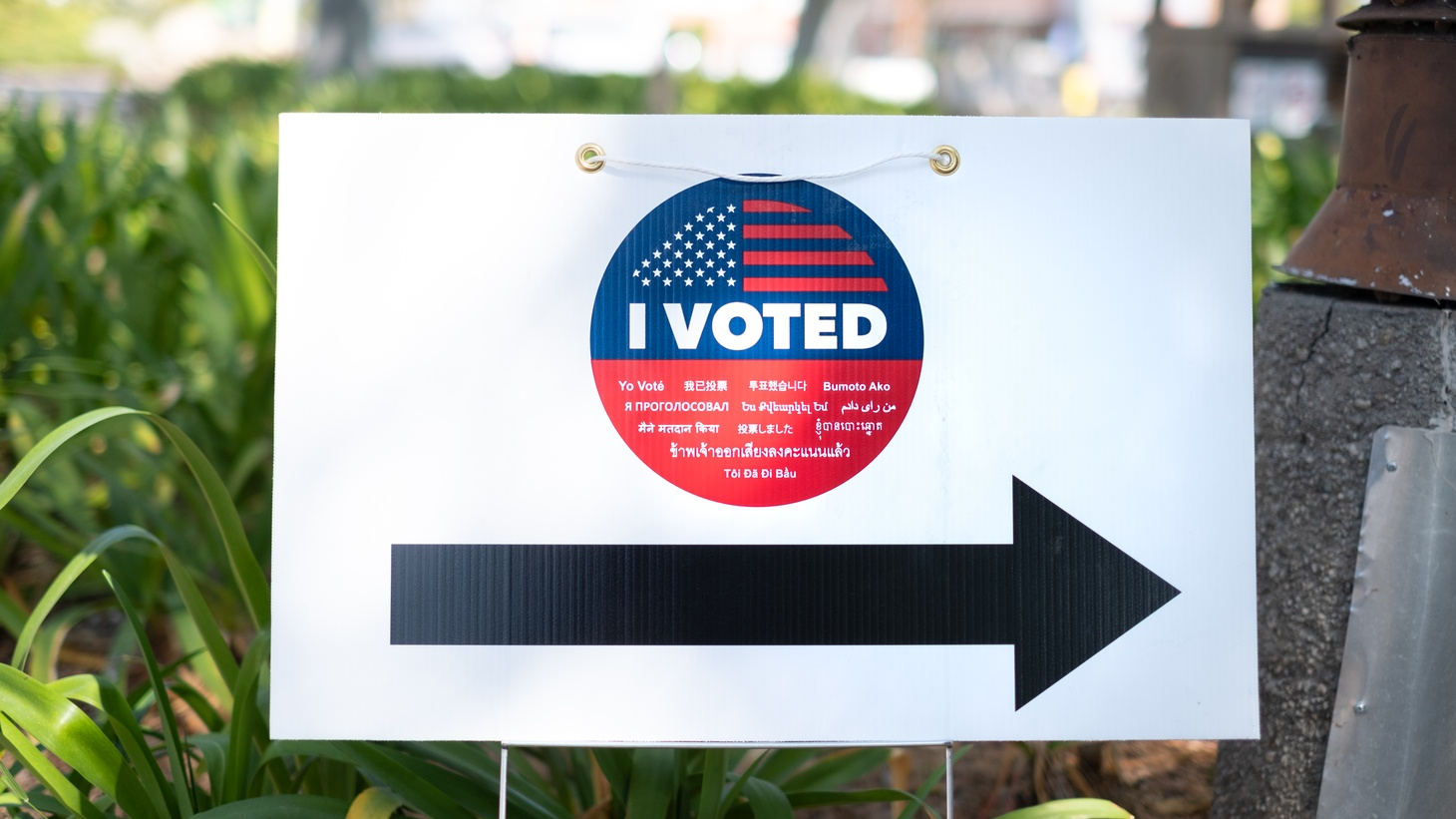 "A ""vote here"" sign for the primary election in Culver City. The general election is just a few months away."