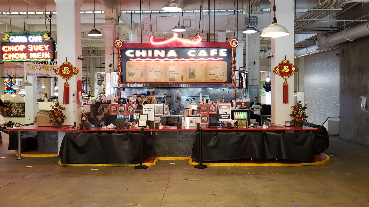 China Cafe and other restaurants in downtown LA's Grand Central Market have seen far fewer customers during the COVID-19 pandemic.