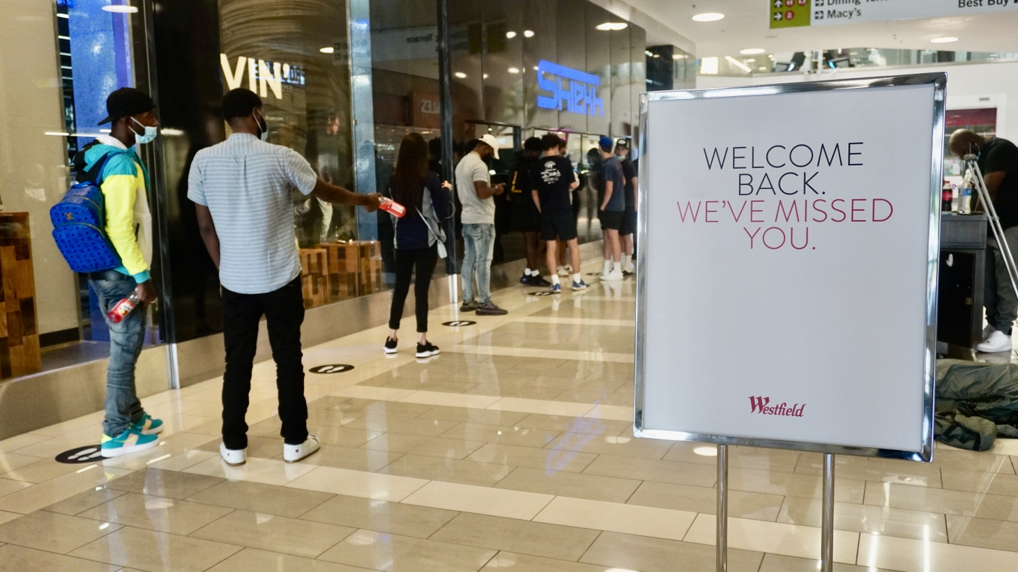 At Westfield Culver City, shoppers line up to try to buy rare shoes potentially left behind when the pandemic forced the mall to close.
