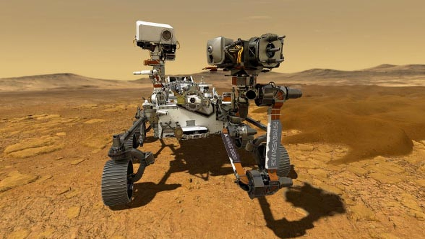 An illustration depicting NASA's Perseverance rover on Mars. Perseverance is expected to land at Mars' Jezero Crater on Feb. 18, 2021.