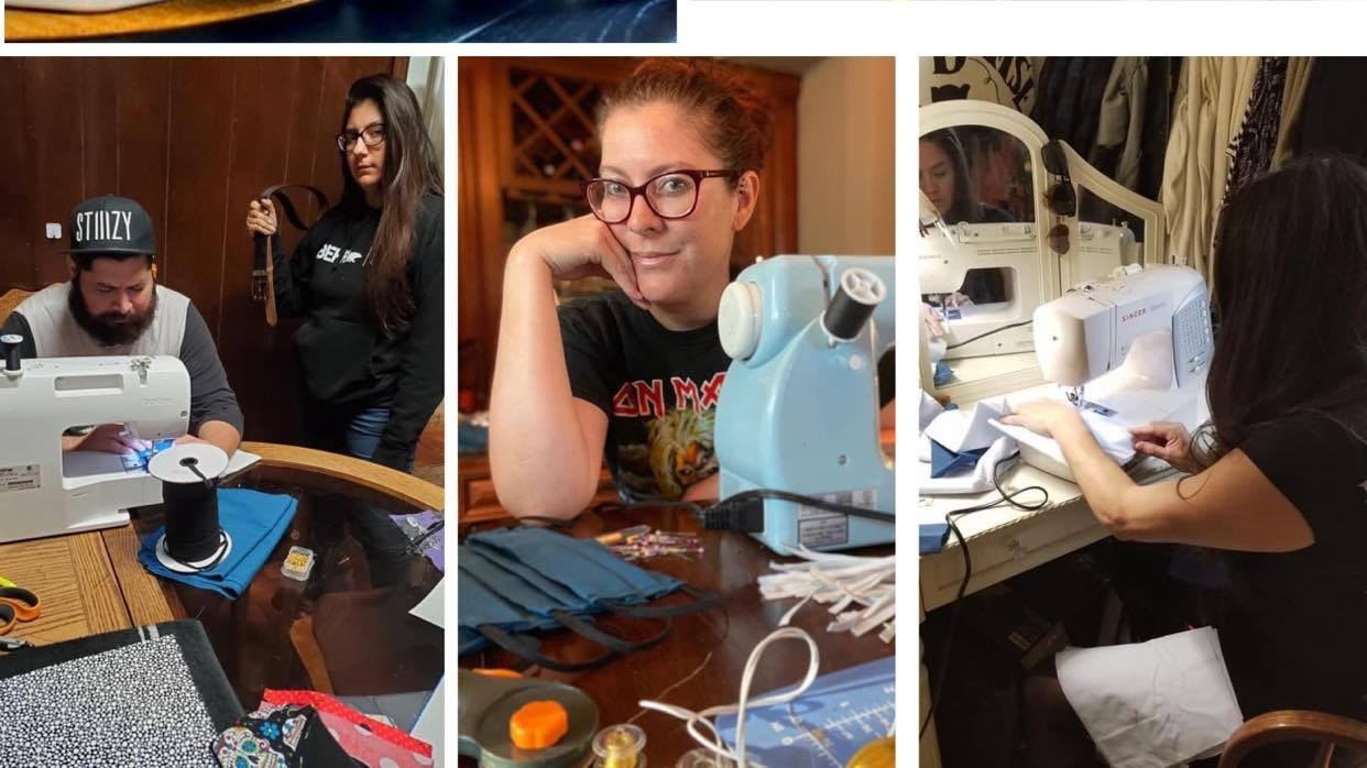 Members of Los Angeles Renegade Rollergirls, ranging in sewing experience from novices to veteran seamstresses, are making masks daily.