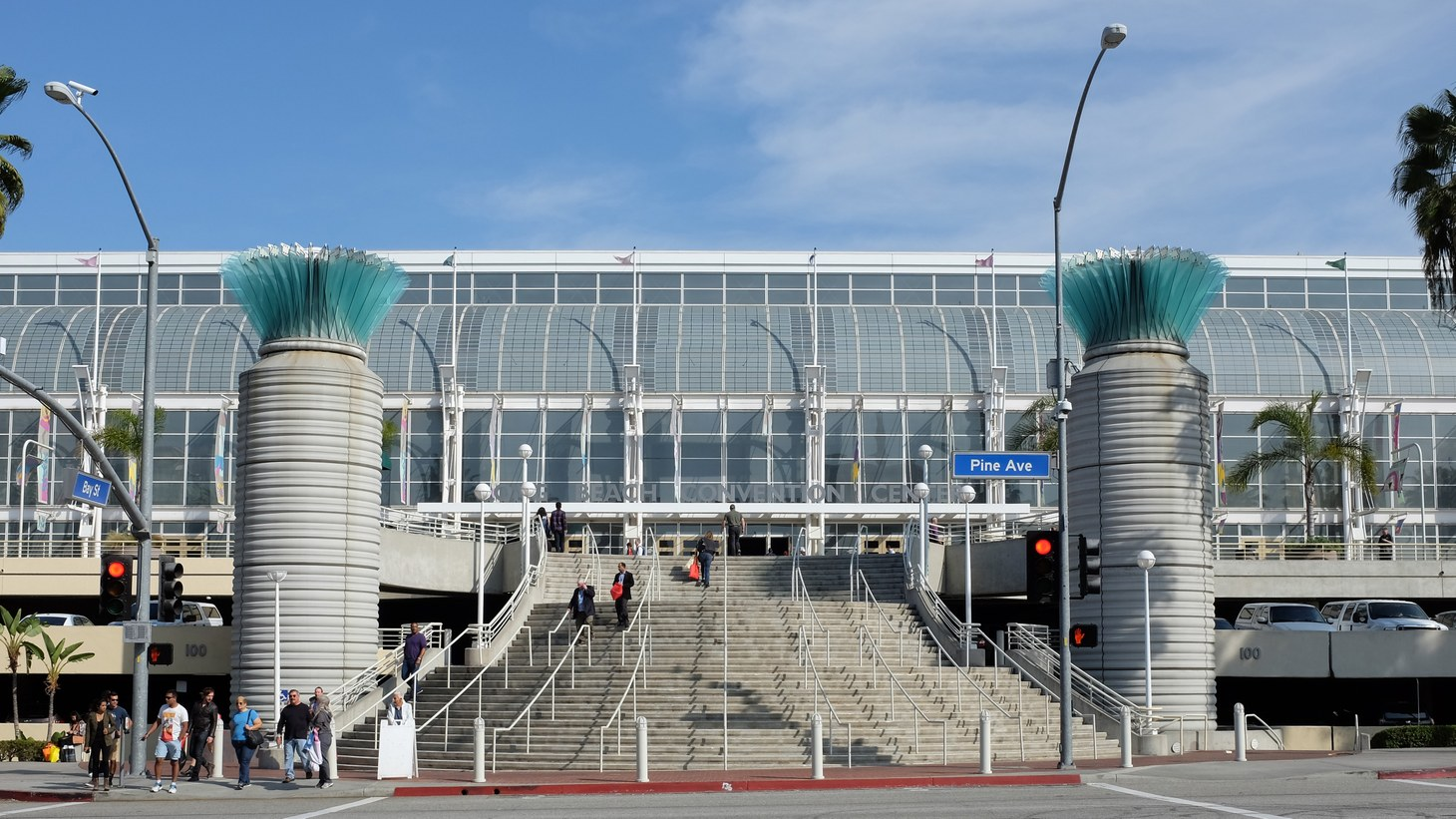 The Long Beach Convention Center is seen on April 7, 2021. The city's mayor, Robert Garcia, said the center will host 1,000 migrant children.