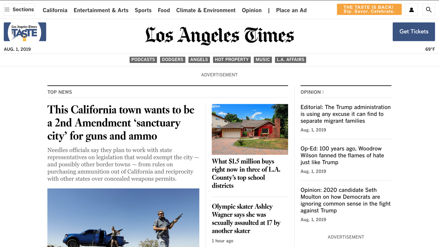 A screenshot of the latimes.com homepage on August 1, 2019, 10:29 AM.
