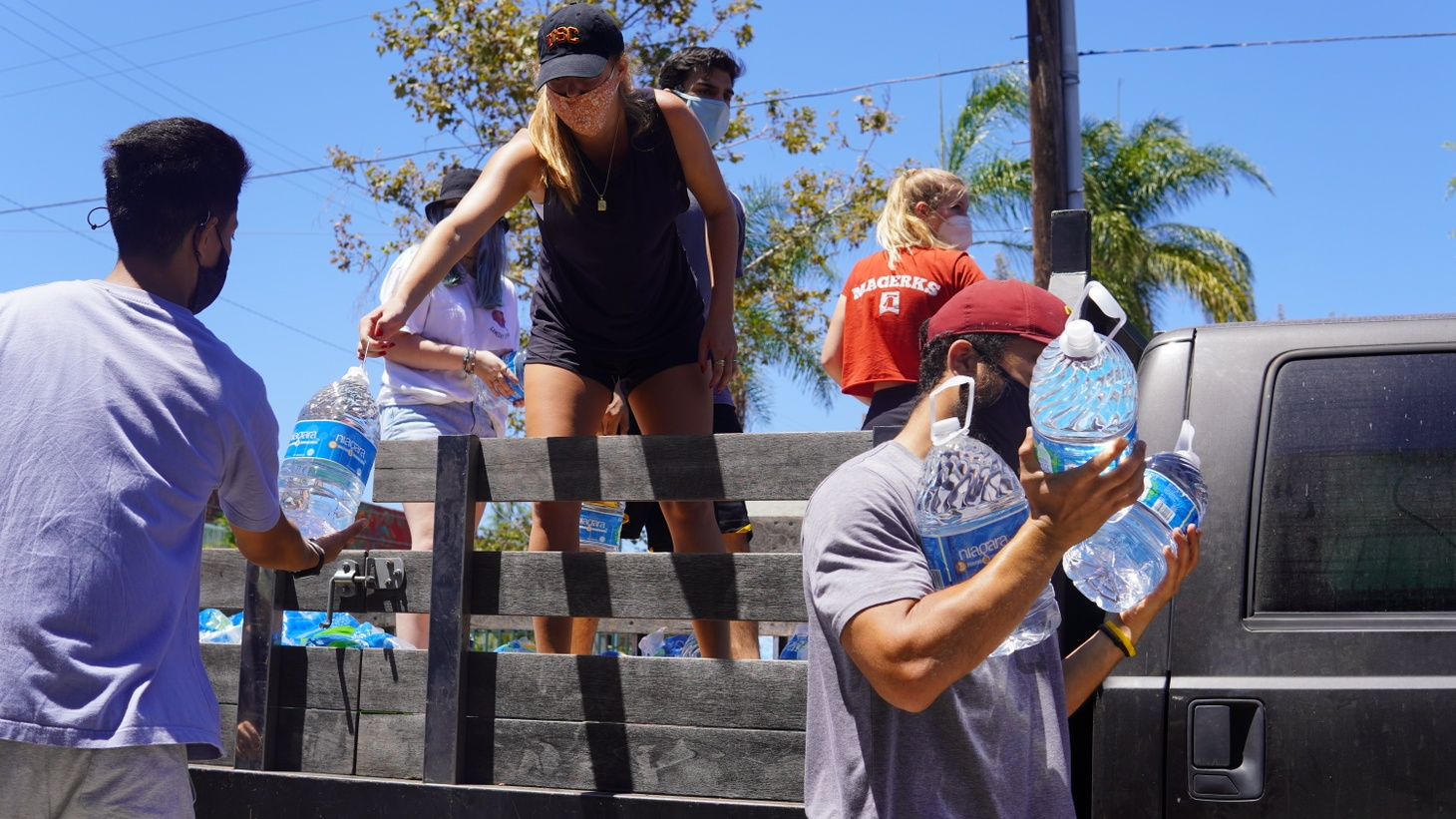 Volunteers of Water Drop LA prepare for a day of service in 2020.
