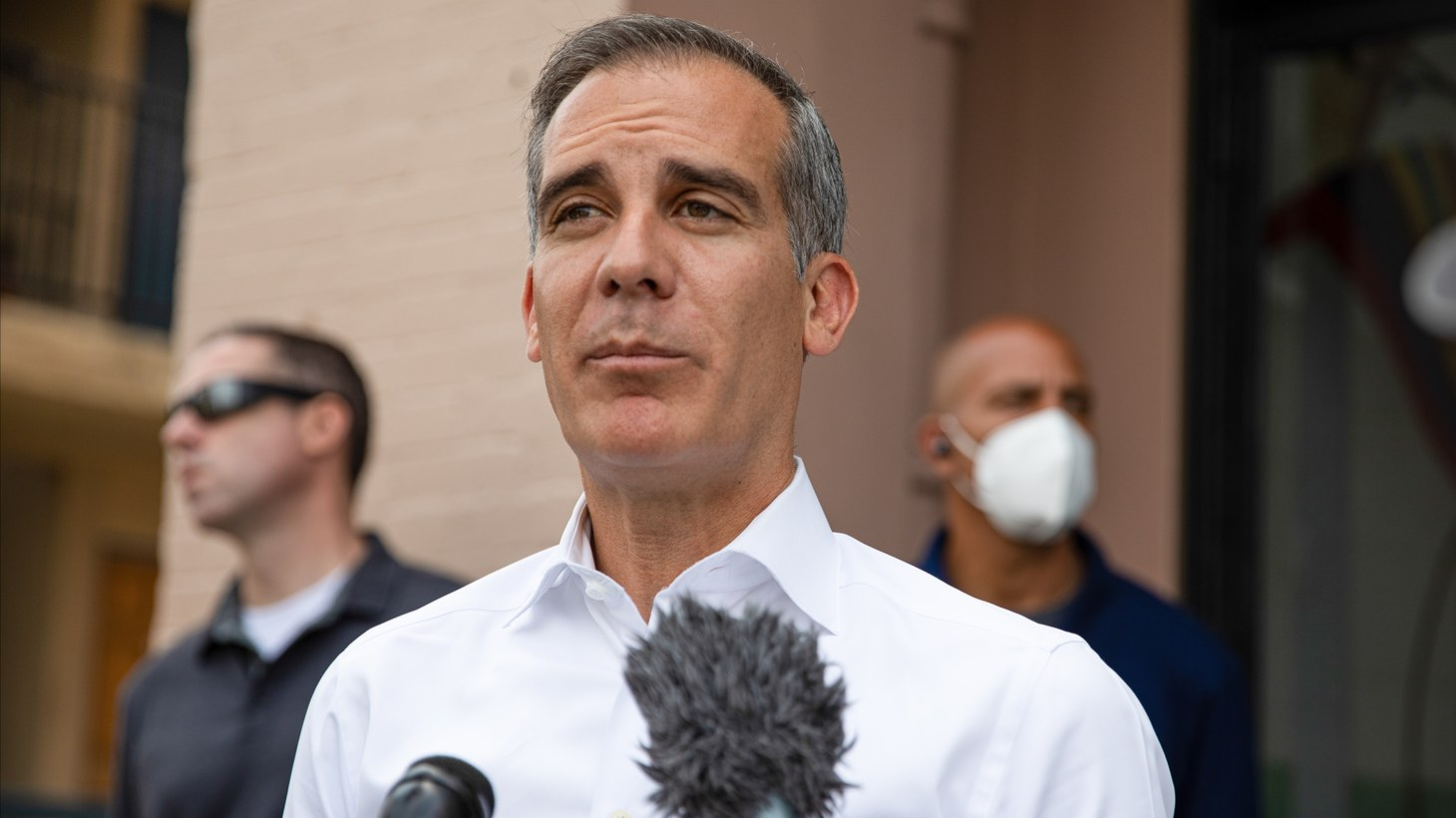 Mayor Garcetti speaks to the press about the homeless crisis along the boardwalk in Venice Beach, California, June 29, 2021. On July 9, Garcetti confirmed that President Biden nominated him as U.S. Ambassador to India.