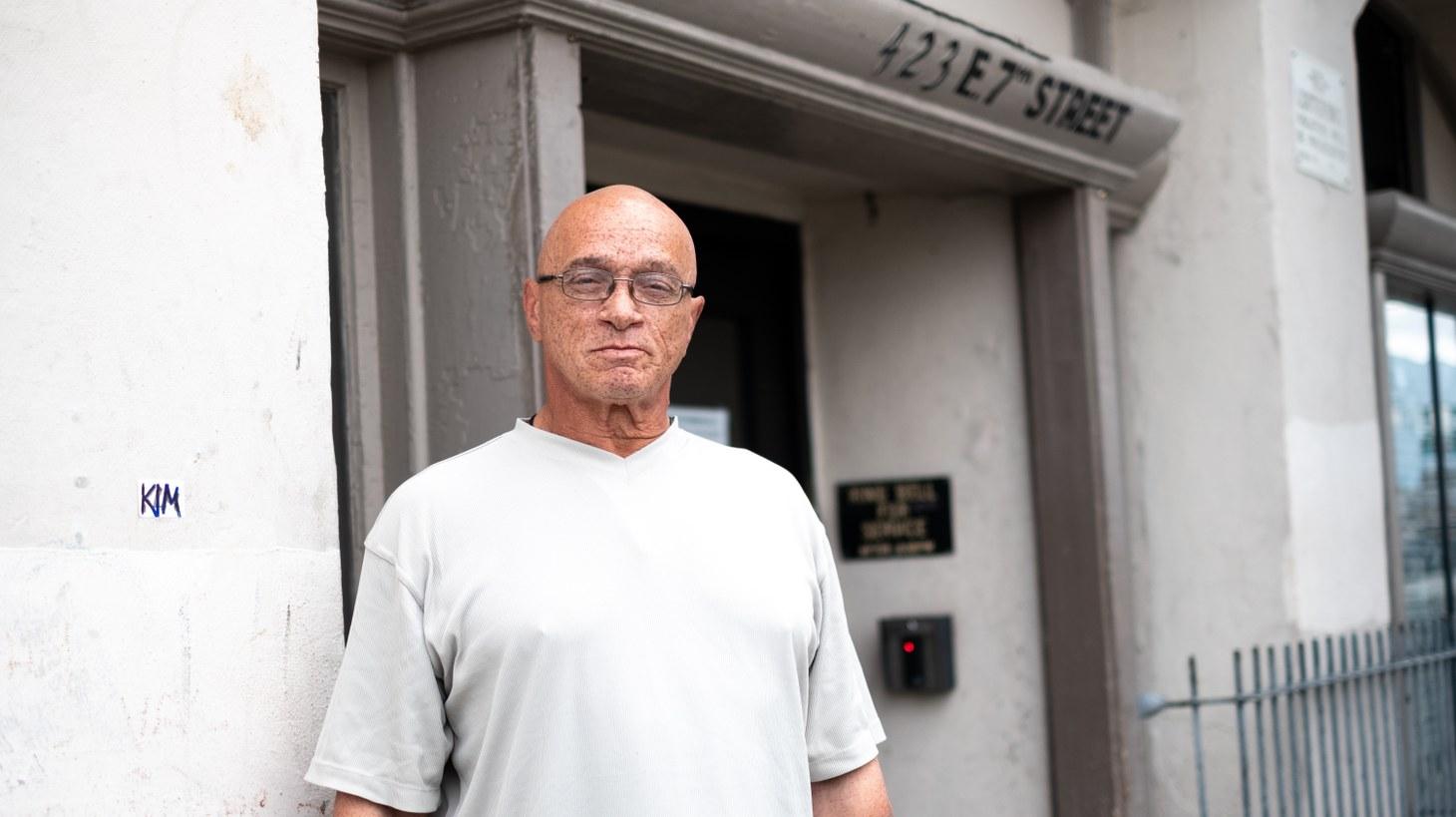 Paul Williams outside his unit.