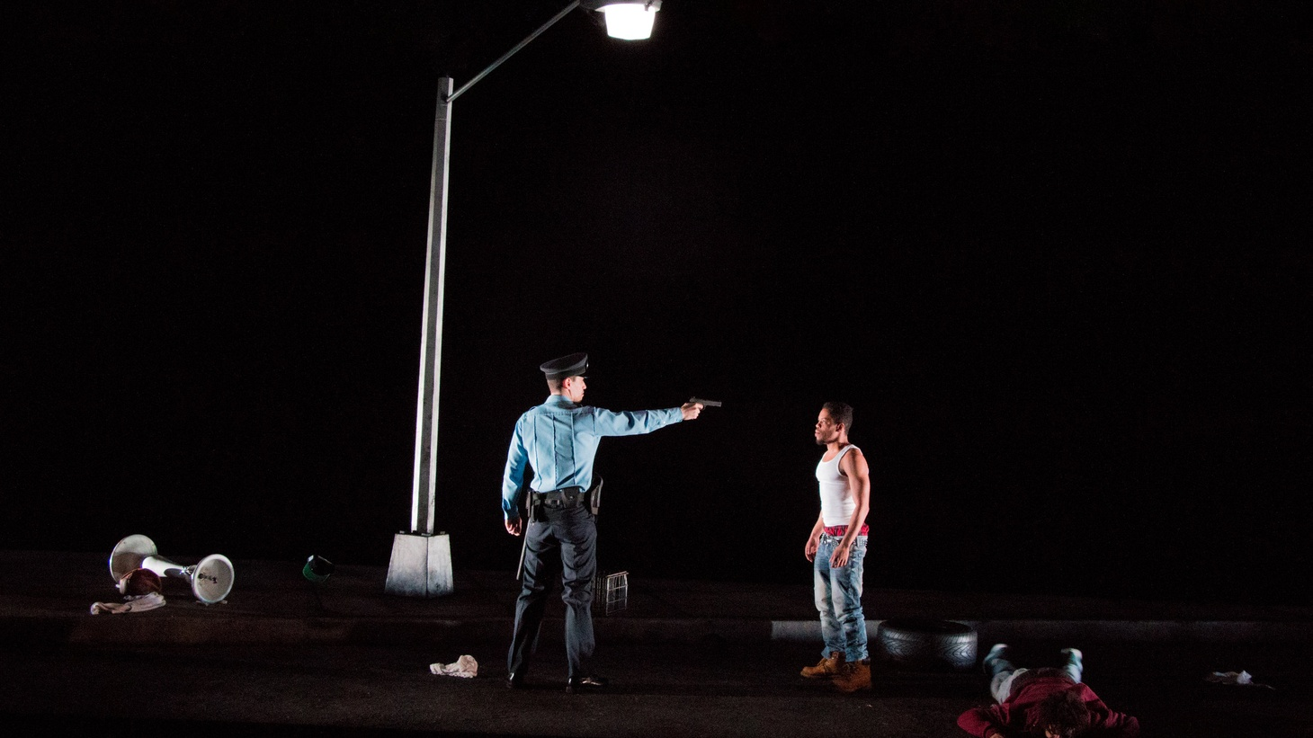 """A scene from """"Pass Over,"""" performed at Steppenwolf Theatre Company, IL and Lincoln Center Theater, NYC."""