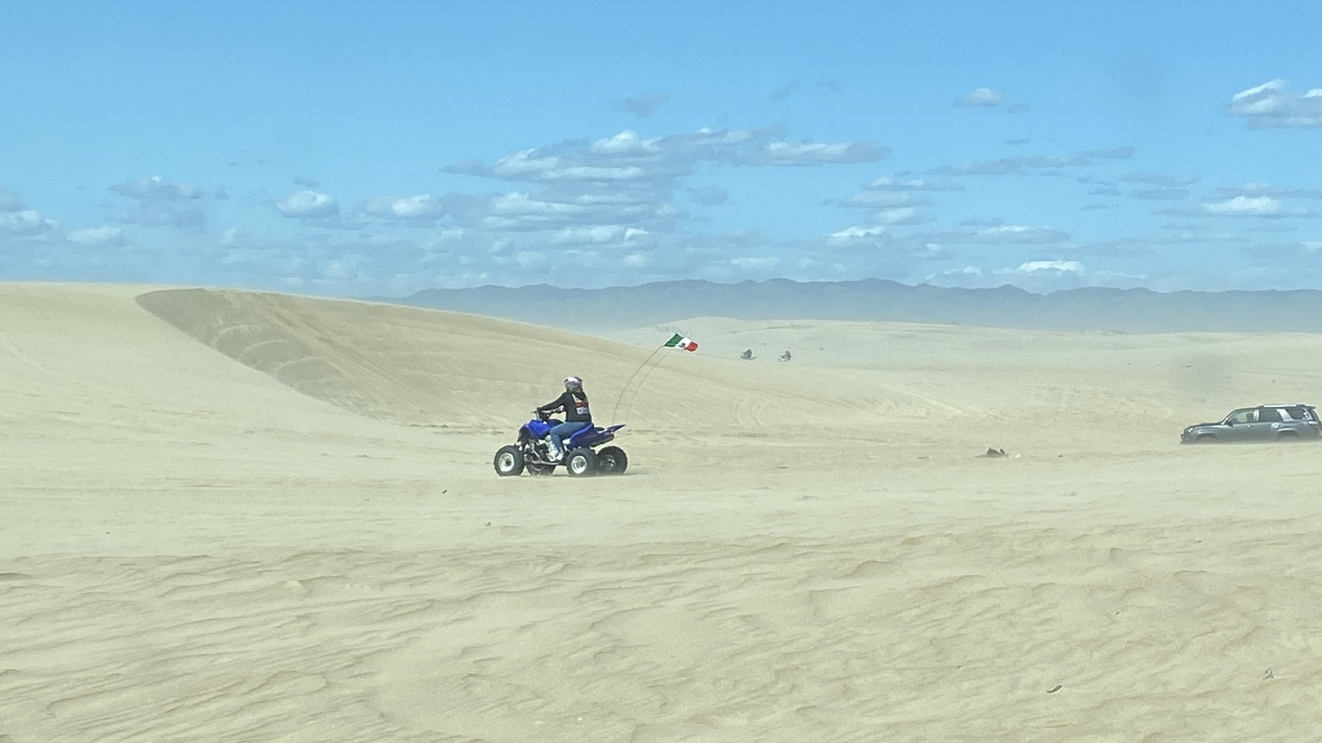 Small quads, and dirt bikes, and luxury SUVs make their way through Oceano Dunes. The recreation area has dust mitigation tools, and sizable parts are fenced off to protect threatened species like the snowy plover. Off-roaders are adamant that they can responsibly pursue their pastime without causing significant harm to the unique natural setting.