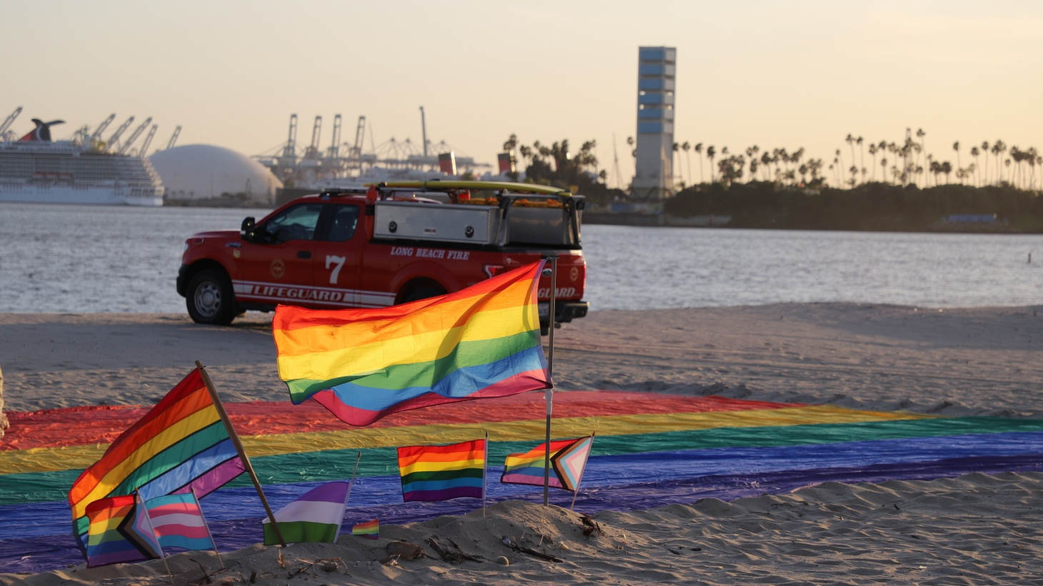 The LGBTQ pride lifeguard tower once stood here.