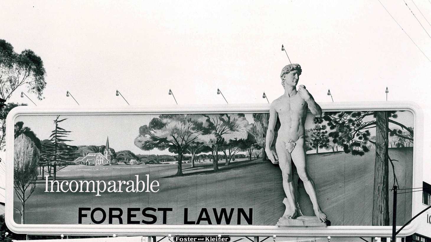 Lead Photo: Unknown Photographer, Hand-painted Billboard with Michelangelo's David, 1955. Archival photograph, 15 x 8 inches.