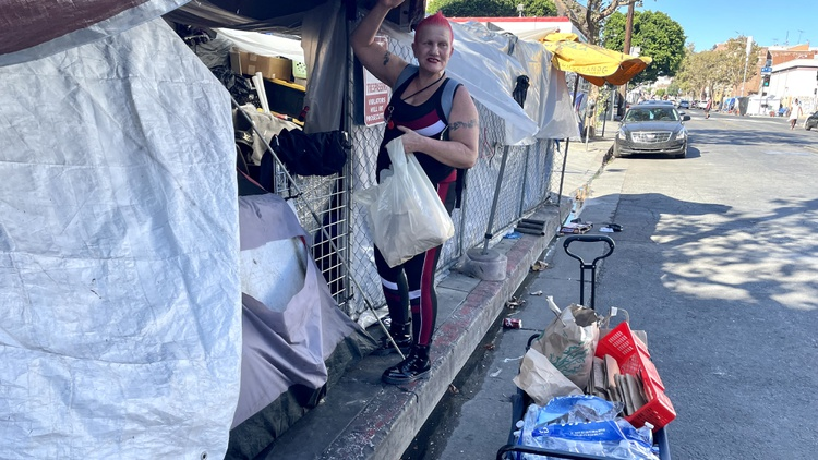 A nonprofit called the Sidewalk Project supplies unhoused people with Narcan, clean syringes, condoms, pipes, and marijuana.