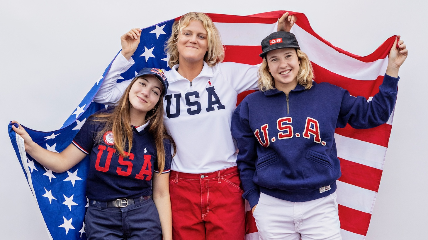 """""""It's actually almost craftsmanship,"""" said skateboarder Bryce Wettstein (center). """"How do we all work together to make that craftsmanship into the most beautiful sandcastle everyone can see?"""" She poses with her teammates Brighton Zeuner and Jordyn Barratt, who are childhood skateboard friends as well as competitors."""