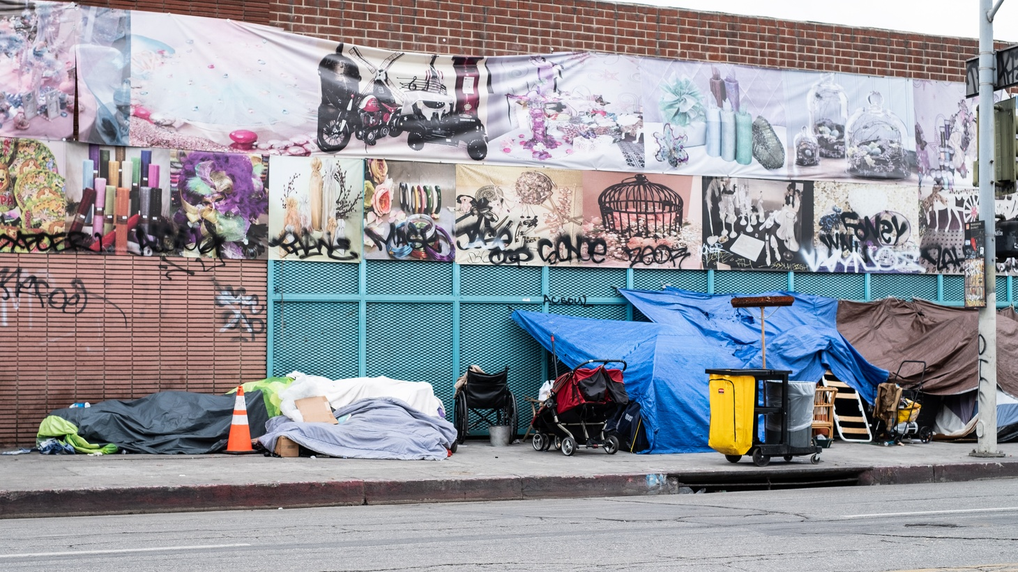 A homeless camp in LA's fashion district.