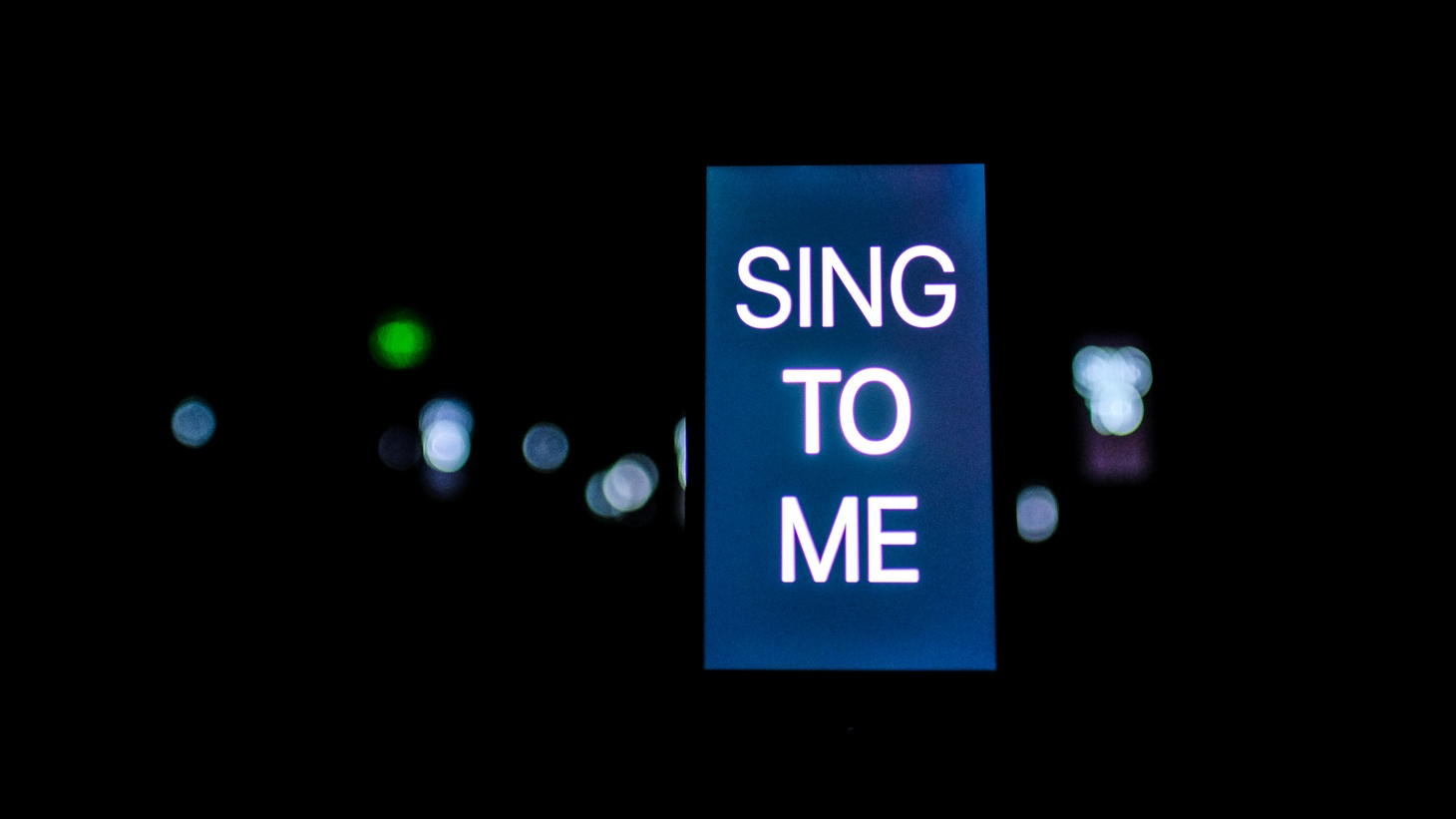 """Talk to Me/Sing to Me"" installation in the new exhibit ""Christian Marclay: Sound Stories."""