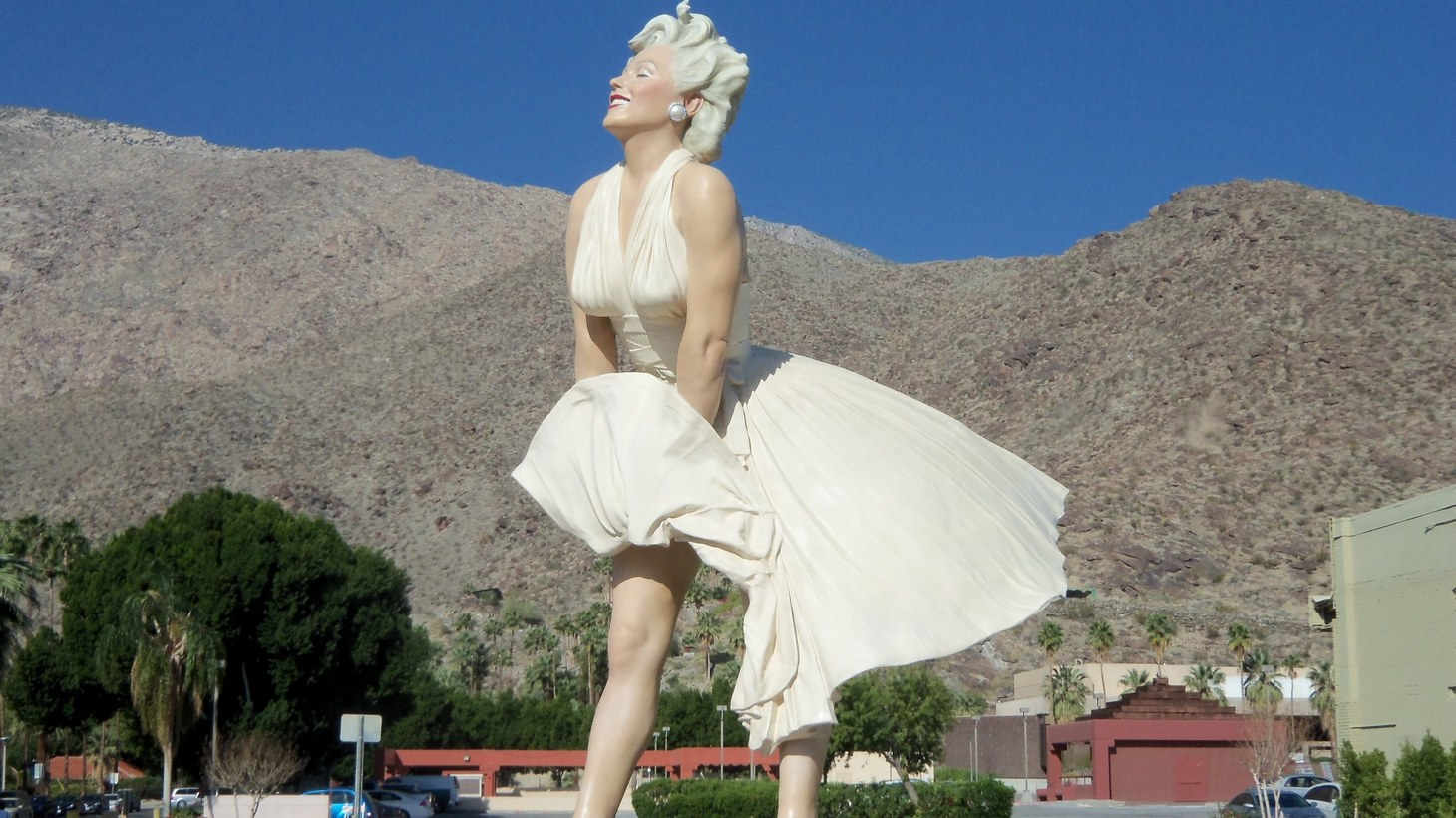 """When """"Forever Marilyn"""" was last in Palm Springs, the statue had a primo downtown location at the intersection of Palm Canyon Drive and Tahquitz Canyon Way. Since departing in 2014, the once open lot that was unofficially dubbed """"the Marilyn park"""" has been turned into the Kimpton Rowan Hotel."""