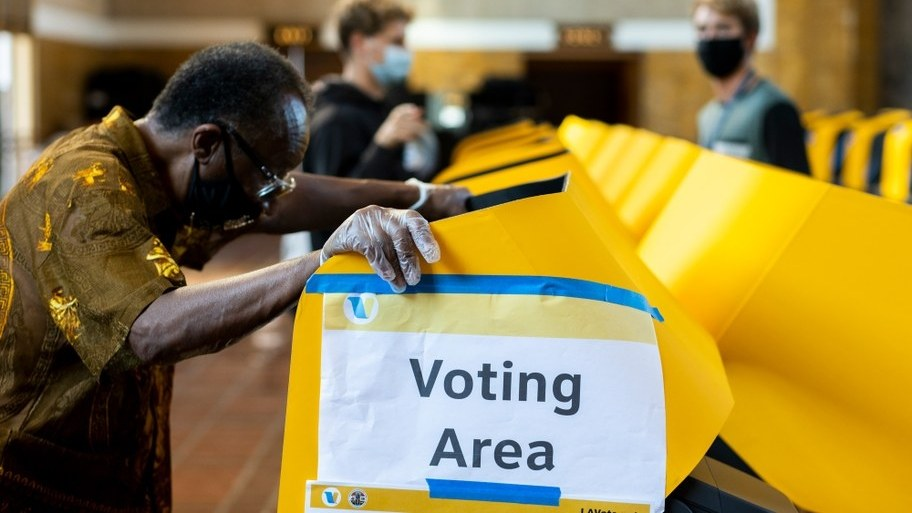 Voters cast their ballots at Union Station in downtown Los Angeles over the Halloween weekend.