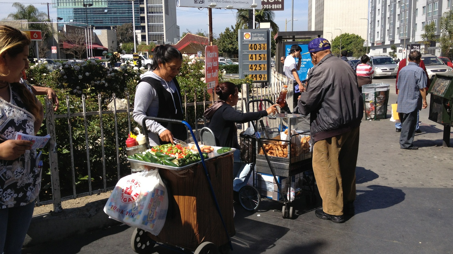 Street vendors on Vermont Avenue in Los Angeles.