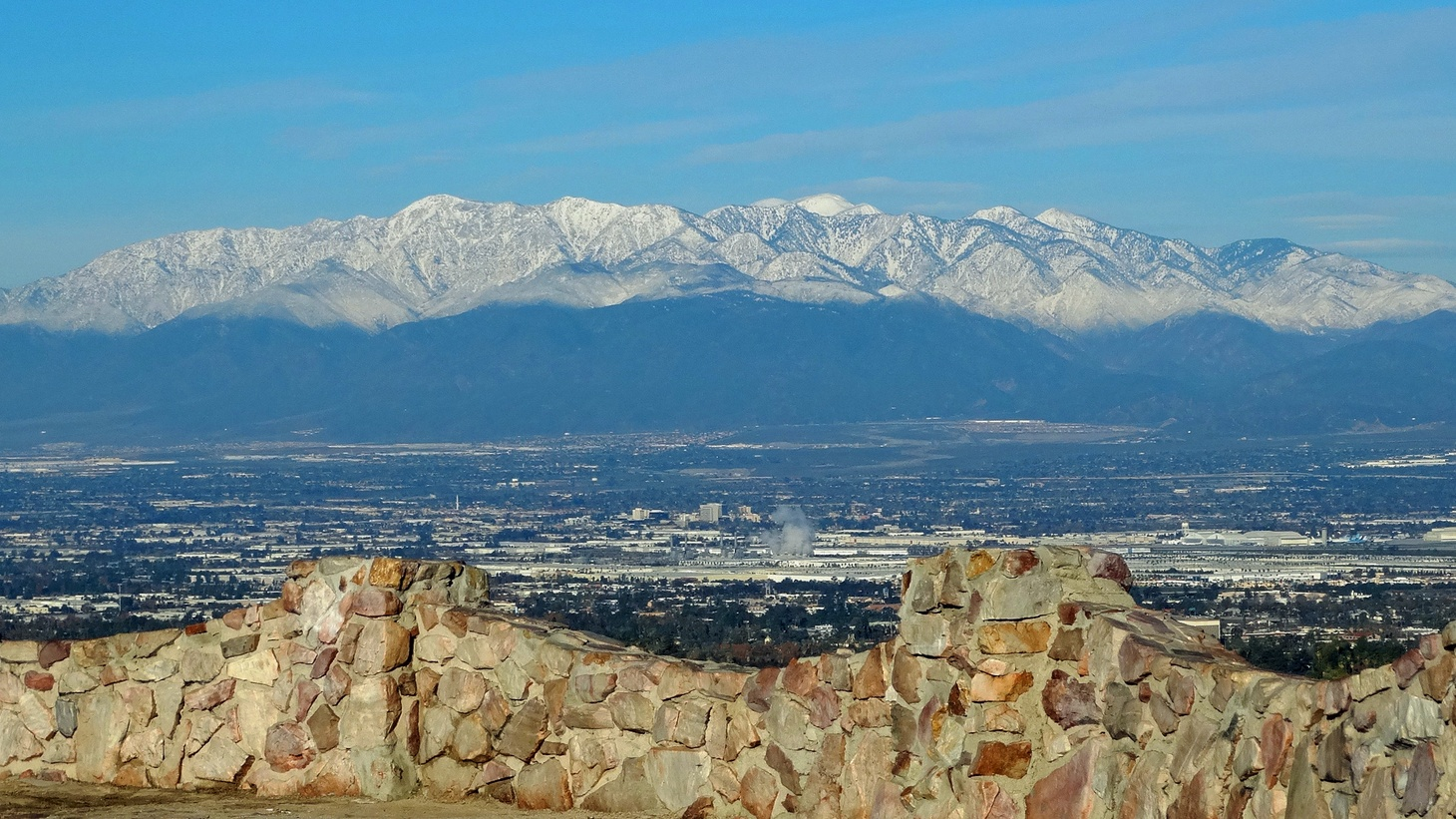 San Gabriel Mountains over Inland Empire, CA.