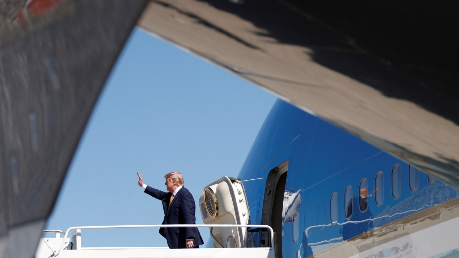 U.S. President Donald Trump descends from Air Force One at Moffett Federal Airfield in Mountain View, California, U.S., September 17, 2019.