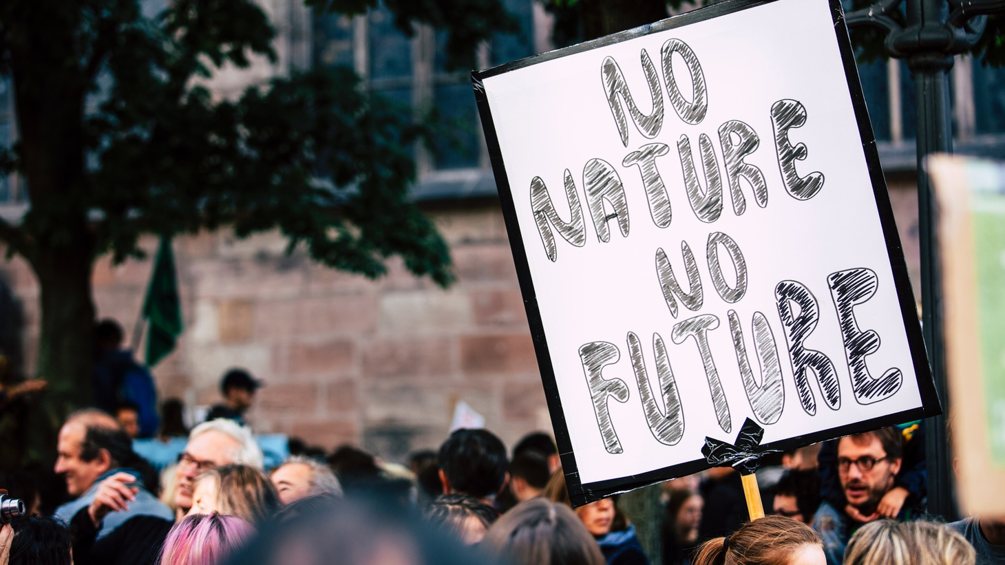 "A climate change activist holds a sign that says ""No nature, no future."""