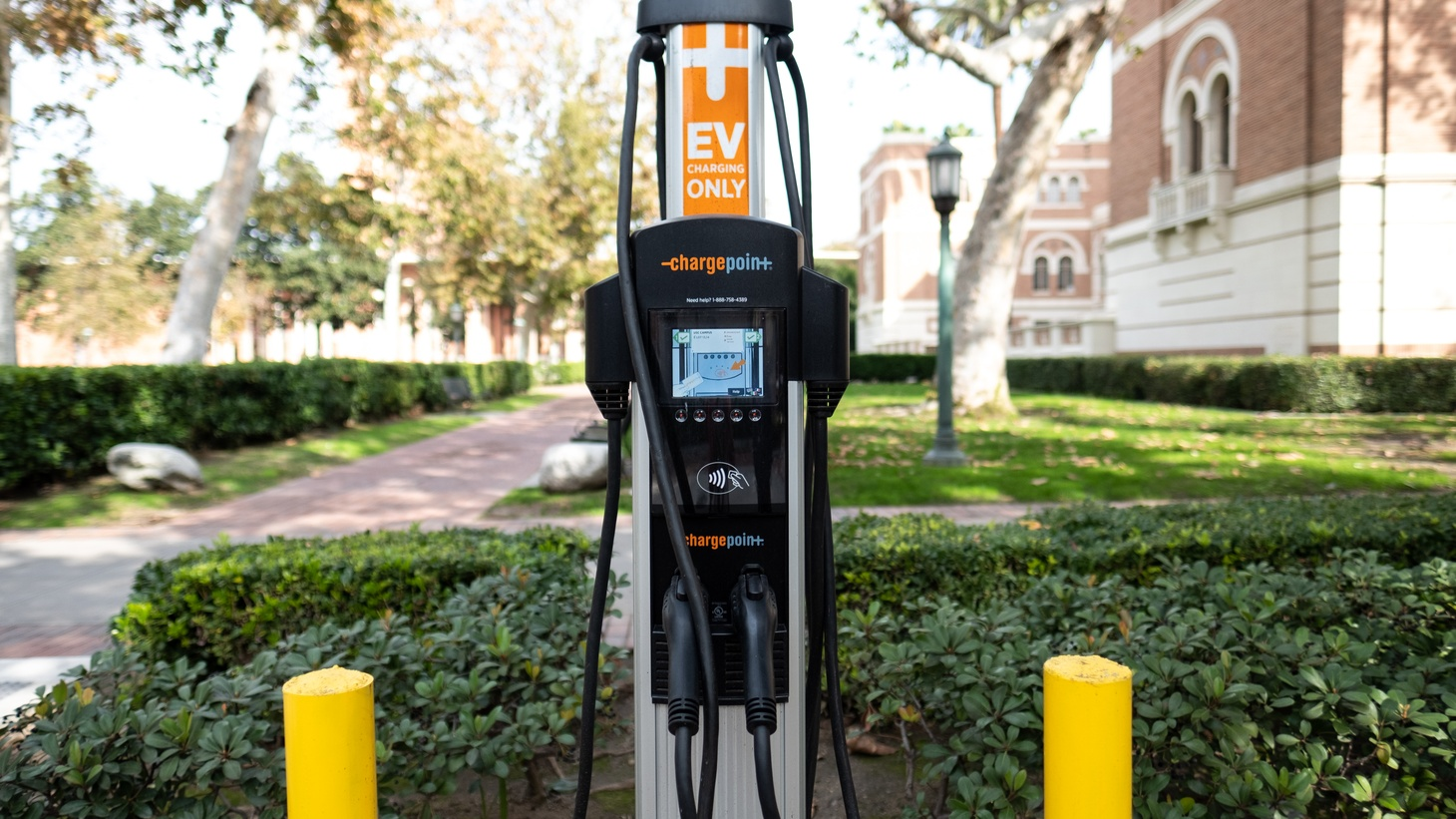 An electric vehicle charging station at the University of Southern California. Five car companies have signed a deal with California to meet the state's stricter emissions standards, despite the Trump administration revoking California's right to set its own rules.