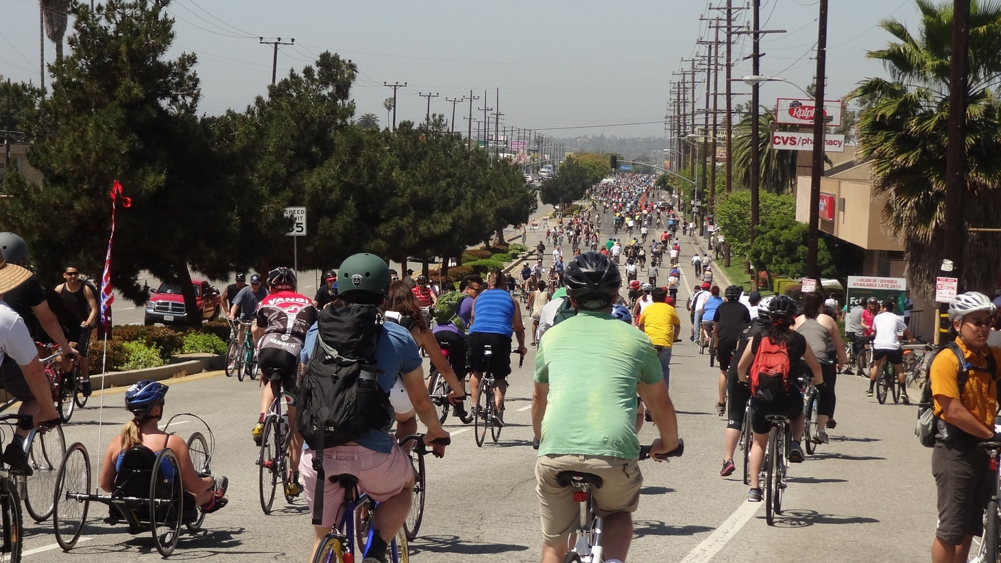 CicLAvia participants ride from downtown LA to Venice in 2014.