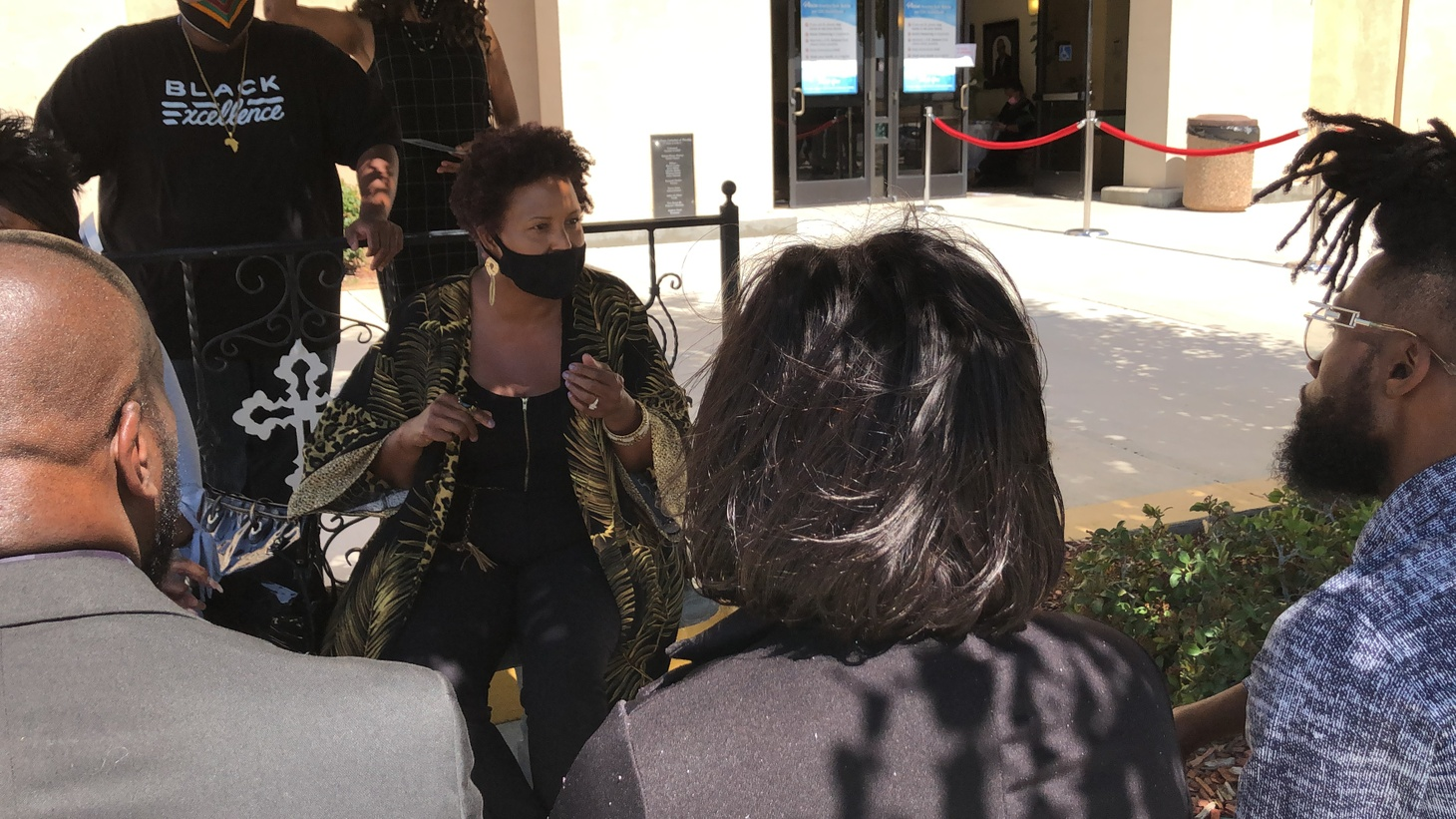 Lisa Brown led a discussion on Black liberation outside the wake of Robert Fuller, 24, who was found hanging from a tree in Palmdale.