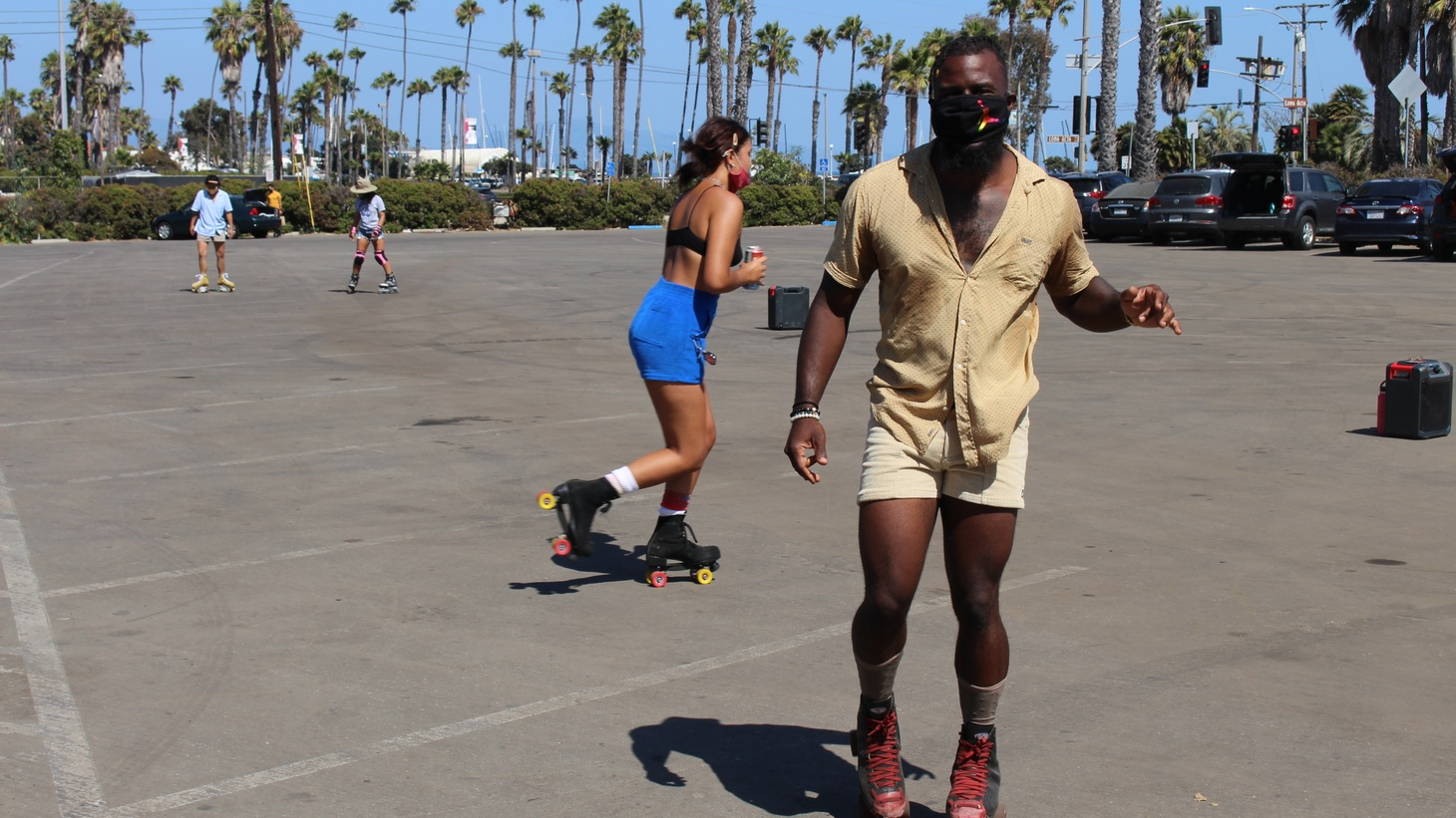 """People from LA, Ojai, Solvang, and San Diego come to Santa Barbara to skate with the SB Rollers. """"I see a lot of individual people doing their own thing, but not really socializing,"""" says Terrance Brown."""