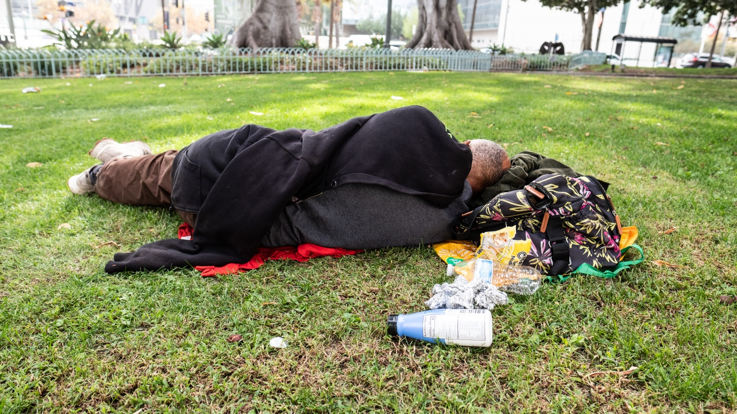 An unhoused person sleeps in a park in downtown Los Angeles.